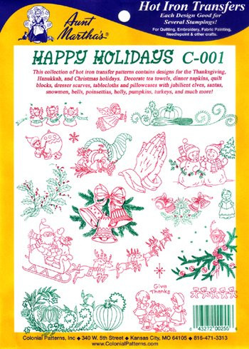 Aunt Martha's C60 Happy Holidays Colonial Patterns Inc New Colonial Patterns
