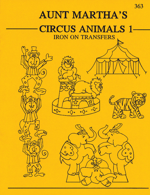 Aunt Martha's® Embroidery Transfer Pattern #363 Circus Animals