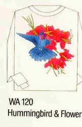 Hummingbird & Flower Iron-on Transfer Pattern