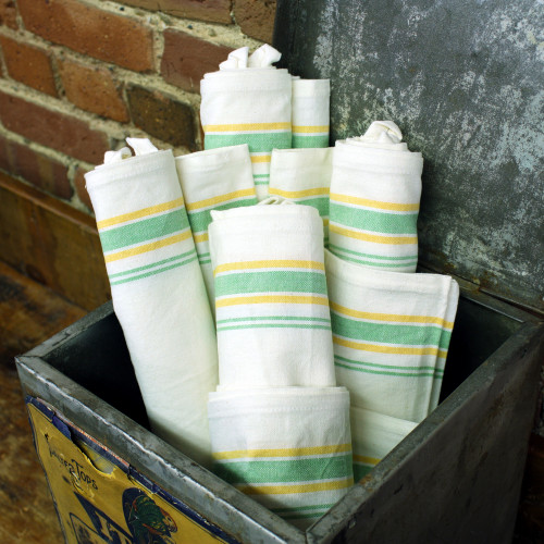 Aunt Martha's Vintage Green & Yellow Stripe Towels