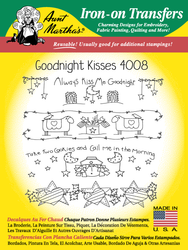 Aunt Martha's Embroidery Transfer Pattern #4008 Goodnight Kisses