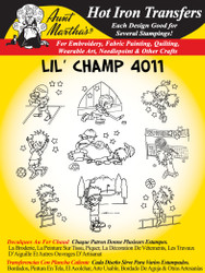 Aunt Martha's Embroidery Transfer Pattern #4011 Lil' Champ