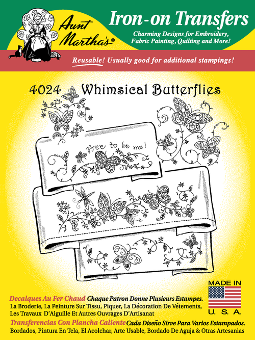 Aunt Martha's Embroidery Transfer Pattern #4024 Whimsical Butterflies