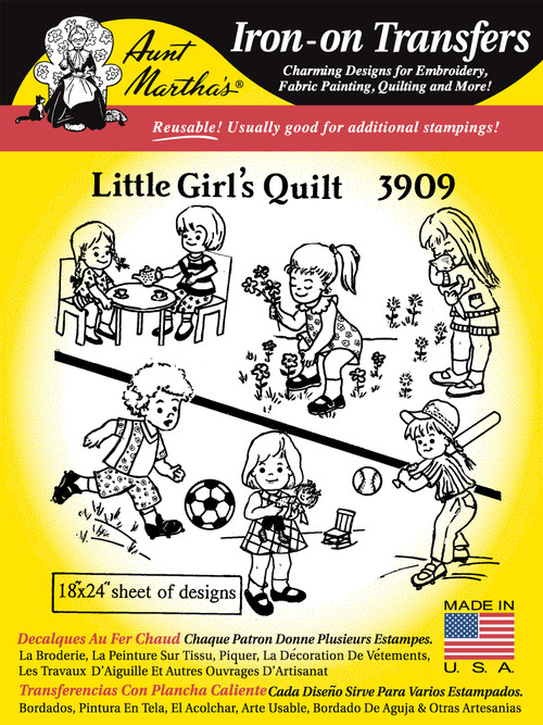 Aunt Martha's Embroidery Transfer Pattern #3909 Little Girl's Quilt
