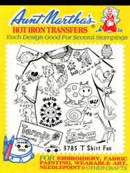 Aunt Martha's Embroidery Transfer Pattern #3785 T-shirt Fun!
