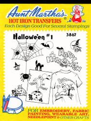 Aunt Martha's Embroidery Transfer Pattern #3867 Halloween #1