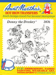 Aunt Martha's Embroidery Transfer Pattern #3876 Donny the Donkey
