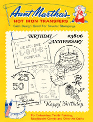Aunt Martha's Embroidery Transfer Pattern #3806 Birthday - Anniversary
