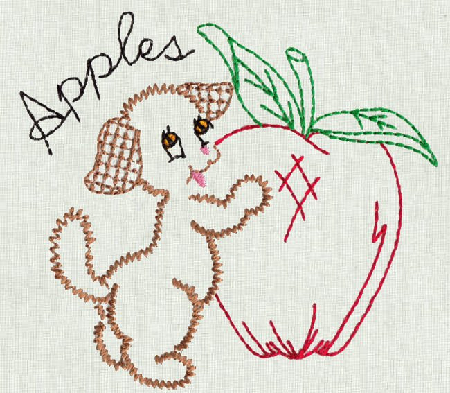 Aunt Martha's 60 Fruit 'N Veggie Pup Machine Embroidery File Stunning Colonial Patterns