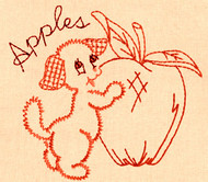Aunt Martha's #3994 Fruit 'N Veggie Pup Redwork (Machine Embroidery File)