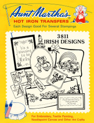 Aunt Martha's Embroidery Transfer Pattern #3811 Irish Designs