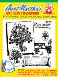 Aunt Martha's Embroidery Transfer Pattern #3823 Rose Basket for Bedspread