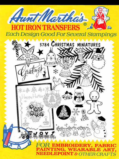 Aunt Martha's Embroidery Transfer Pattern #3784 Christmas Miniatures