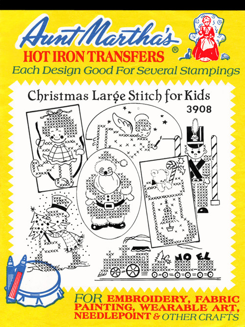 Aunt Martha's Embroidery Transfer Pattern #3908 Christmas Large Stitch for Kids