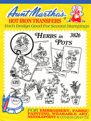 Aunt Martha's Embroidery Transfer Pattern #3826 Herbs In Pots