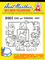 Aunt Martha's Embroidery Transfer Pattern #3882 Dogs, Toys & Terriers