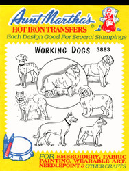 Aunt Martha's Embroidery Transfer Pattern #3883 Working Dogs