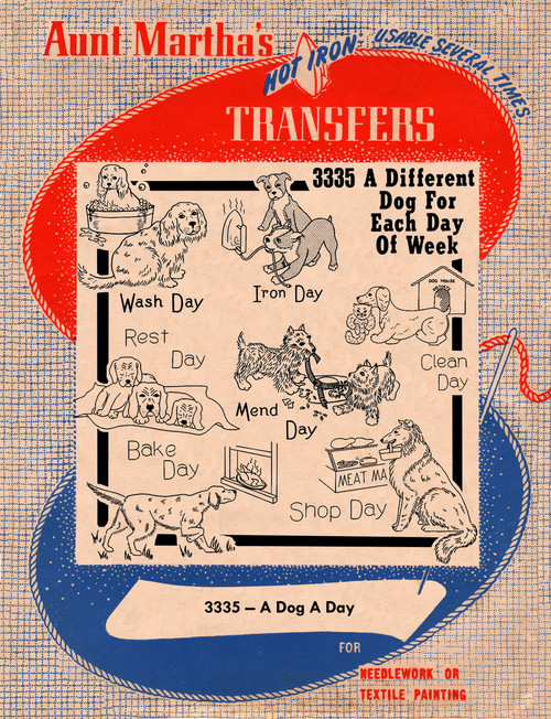 Aunt Martha's Embroidery Transfer Pattern #3335 A Dog A Day