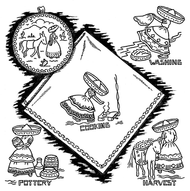 Aunt Martha's Embroidery Transfer Pattern #3635 Mexican Girl Tea Towels