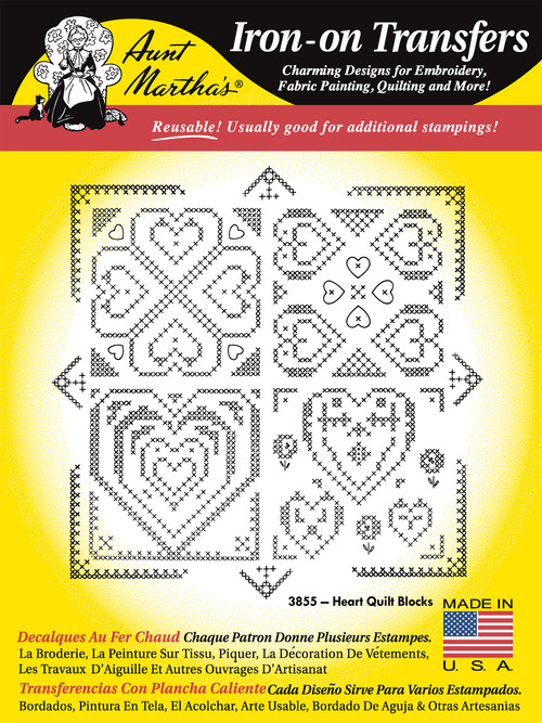 Aunt Martha's Embroidery Transfer Pattern #3855 Cross Stitch Heart Quilt Blocks