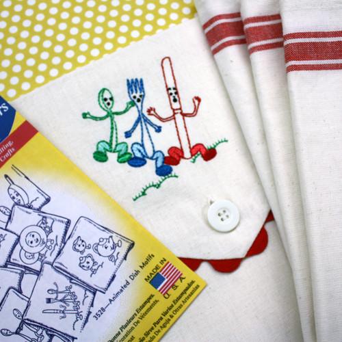 Aunt Martha's Vintage Blue Stripe Towel & Sack Gift Set