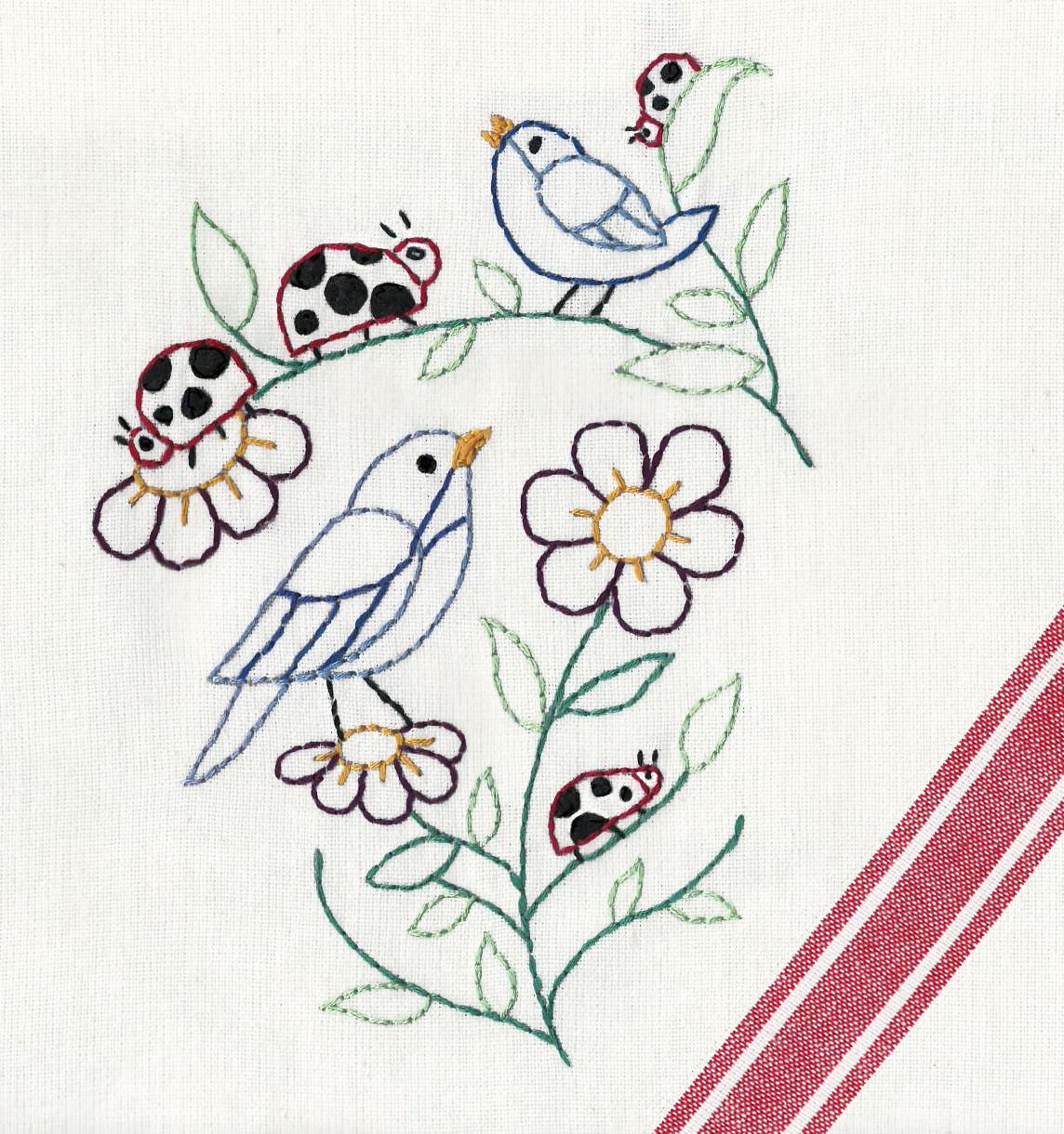 Lovely Ladybugs #4034  Aunt Martha/'s Hot Iron Embroidery Transfer Pattern