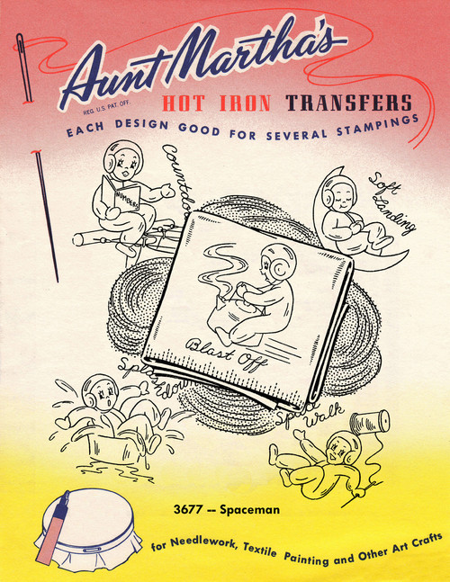 Aunt Martha's Embroidery Transfer Pattern #3677 Spaceman