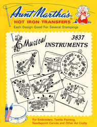 Aunt Martha's Embroidery Transfer Pattern #3837 Musical Instruments