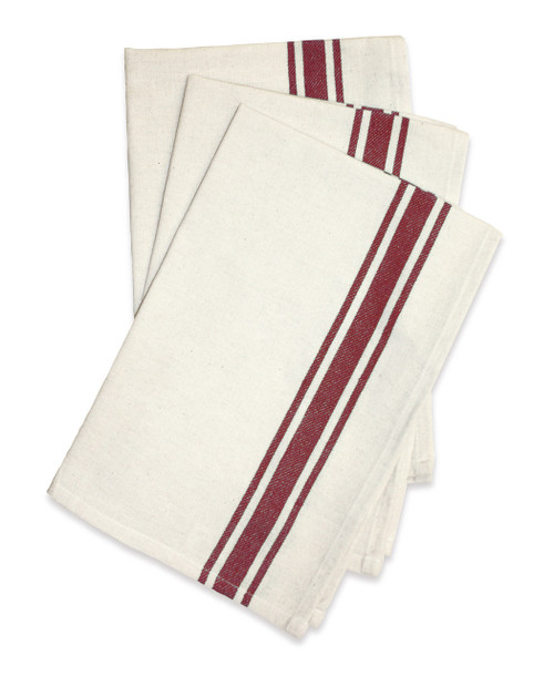 Aunt Martha's Retro Bold Twill Maroon Stripe Dishtowels