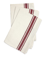 Aunt Martha's Stitch 'Em Up Embroidery Blanks - Retro Bold Twill Maroon Stripe Dishtowels