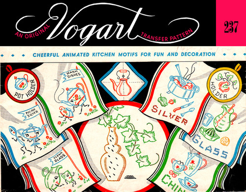 Embroidery Transfer Pattern Vogart #237 Cheerful, Animated Kitchen Motifs