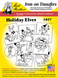 Aunt Martha's Embroidery Transfer Pattern #3857 Christmas Elves