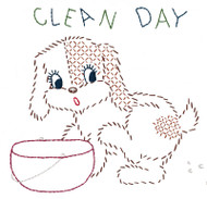 Aunt Martha's Quick Stitch Embroidery Kit - Clean Day Puppy