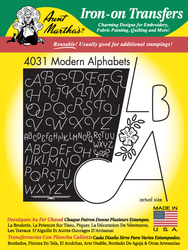 Aunt Martha's Embroidery Transfer Pattern #4031 Modern Alphabet
