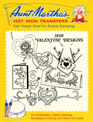 Aunt Martha's #3808 Valentine Designs Embroidery Transfer Pattern