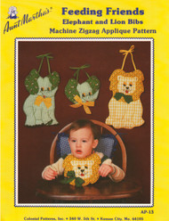 Aunt Martha's Feeding Friends - Elephant and Lion Bibs - Applique Pattern