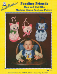 Aunt Martha's Feeding Friends - Dog and Cat Bibs - Applique Pattern