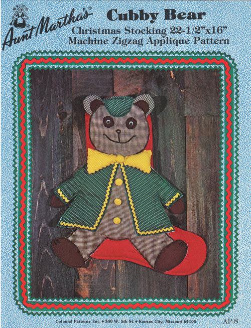 Aunt Martha's Cubby Bear - Christmas Stocking - Applique Pattern