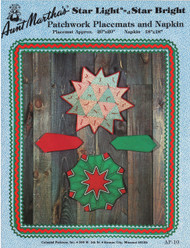 Aunt Martha's Star Light Star Bright - Patchworks Placemat and Napkin - Applique Pattern
