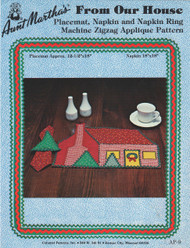 Aunt Martha's Our House on Christmas - Placemat and Napkin - Applique Pattern
