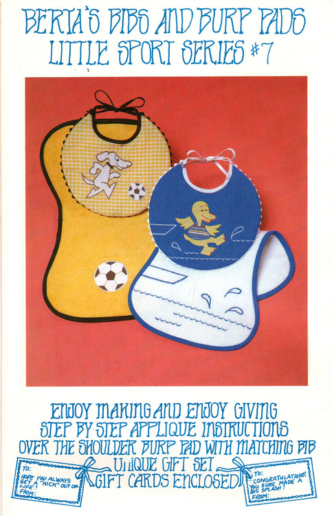 Berta's Bibs & Burp Pads - Little Sport Series - Applique Pattern