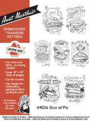 Aunt Martha's Hand Stitch Embroidery Transfer Pattern #4036 Slice of Pie
