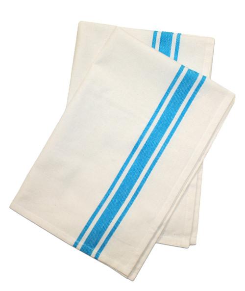 Aunt Martha's Stitch 'Em Up Retro Bold Twill Turquoise Stripe Towels 2-PACK