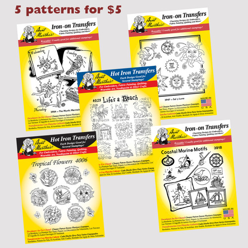 Aunt Martha's Embroidery Transfer Patterns (Beach) 5 for 5