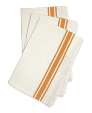 Aunt Martha's Stitch 'Em Up Retro Bold Twill Orange Stripe Dishtowels
