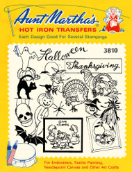 Aunt Martha's Embroidery Transfer Pattern #3810 Halloween & Thanksgiving Designs