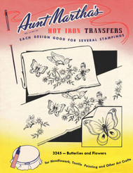 Aunt Martha's Embroidery Transfer Pattern #3245 Butterflies and Flowers