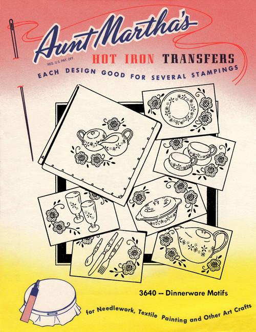 Aunt Martha's Embroidery Transfer Pattern #3640 Dinnerware Motifs