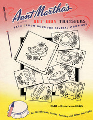 Aunt Martha's Embroidery Transfer Pattern #3640 Dinnerware Motifs