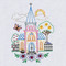 Aunt Martha's #4037 Charming Churches Hand Stitch Embroidery Transfer Pattern